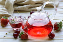 Summer fruit tea with a variety of berries Royalty Free Stock Images