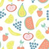 Summer fruit vector seamless background pattern royalty free illustration