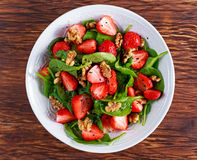 Summer Fruit Vegan Spinach Strawberry nuts Salad. concepts health food Stock Photography