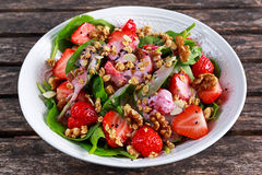 Summer Fruit Vegan Spinach Strawberry nuts Salad with yogurt. concepts health food Stock Photography