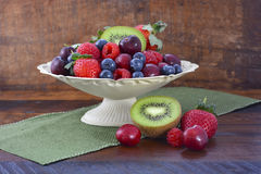 Summer Fruit in Vintage Bowl on Dark Wood Table. Royalty Free Stock Photos