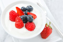Summer Fruit and Yogurt Royalty Free Stock Images