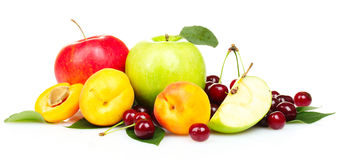 Summer fruits. Tasty summer fruits isolated on white stock photography