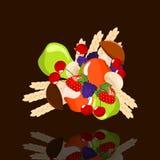 Summer fruits. Apples, pears, mushrooms, strawberries, blackberries, cherries  and wheat - illustration Royalty Free Stock Image