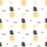 Summer fruits backround Vector summer seamless pineapple pattern Ananas print. Textile fabric ananas yellow and grey colors Tropical pineapple pattern on white stock illustration