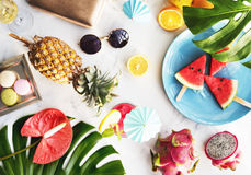 Summer Fruits Beach Sand Holiday Concept Royalty Free Stock Photos