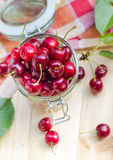 Summer fruits closeup cherries jar processed Royalty Free Stock Image