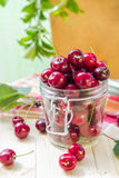 Summer fruits closeup cherries jar processed Stock Image