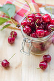 Summer fruits closeup cherries jar processed Royalty Free Stock Image