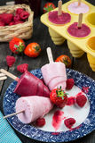 Summer fruits homemade lolly pops ice Stock Images