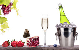 Summer fruits and ice bucket  with champagne Royalty Free Stock Photos