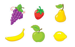 Summer_fruits_icon_set Foto de archivo