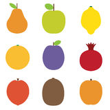 Summer Fruits Icons Royalty Free Stock Photos