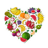 Summer fruits are laid out in the shape of a heart. Fruit heart. Various summer fruits are laid out in the shape of a heart. Vector illustration on white Stock Photos