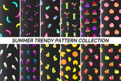 Summer fruits pattern. Collection of summer patterns. Tropical fruits, delicious and summer time food Stock Photos