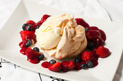 Summer fruits pavlova on plate Royalty Free Stock Image