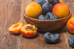 Summer fruits - plums and apricots Stock Photos