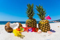 Summer fruits on the sand Stock Images