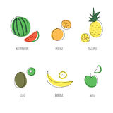 Summer fruits set on white background. Watermelon, pineapple, banana, orange, kiwi, apple. Vector flat illustration Royalty Free Stock Image