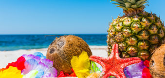 Summer fruits on a tropical beach Stock Photography