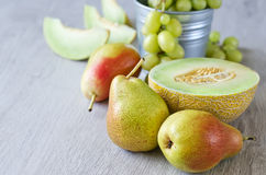 Summer fruits. Various summer fruits, copyspace background Stock Image