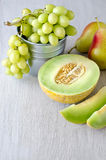 Summer fruits. Various summer fruits, copyspace background Stock Photos