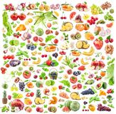 Fruits and vegetables background. Big Collection of fruits and vegetables isolated on white background. Royalty Free Stock Photography