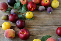 Summer fruits on wooden boards Stock Photography