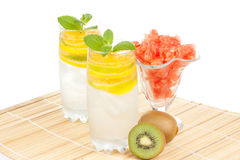 Summer fruity drink with ice Stock Photos