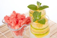 Summer fruity drink with ice Stock Photo