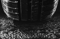 Summer fuel efficient car tires with water droplets stock photos