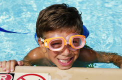 Summer Fun. Child in a Swimmng Pool - Summer Fun Concept Royalty Free Stock Images