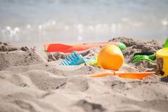 Summer fun. Children toys at the beach Stock Images