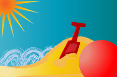 Summer Fun. Illustration of ball and spade on a sunny beach Royalty Free Stock Photo