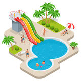 Summer fun at aqua park. Child with parents on water slide at aquapark. Summer holiday. Flat 3d vector isometric. Illustration Stock Photos