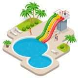 Summer fun at aqua park. Child with parents on water slide at aquapark. Summer holiday. Flat 3d vector isometric Stock Images