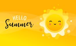 Summer fun background, sun illustration and banner design. Sale poster vector illustration