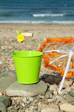 Summer fun on the beach. Summer vacations - relax and have fun at the beach near the blue ocean Royalty Free Stock Photo