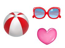 Summer Fun Beach Ball, Sunglasses and Heart. This is a trio of isolated summer elements suited for fun and colorfull designs. Includes a beach ball, red stock illustration
