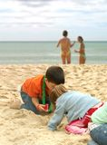 Summer fun in the beach - kids playing Stock Photos
