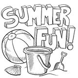 Summer fun at the beach vector. Doodle style sketch of summer fun, including title, beach ball, and sand pail and shovel in vector illustration Stock Photography