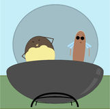 Summer Fun 1. A burger and hot dog enjoy a barbeque royalty free illustration