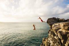 Summer Fun, Cliff Jumping Stock Photos