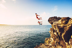 Summer Fun, Cliff Jumping Stock Photo