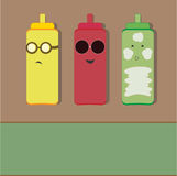 Summer Fun 3. Cute condiments sunbathing on a hot summer day Stock Images
