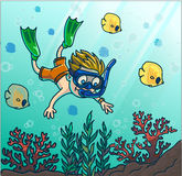 Summer fun diving. Boy dive in the sea with mask and snorkel. Summer fun diving. Boy diving in the sea with mask and snorkel. Vector Illustration Stock Photography