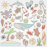 Summer fun doodle collection Royalty Free Stock Image