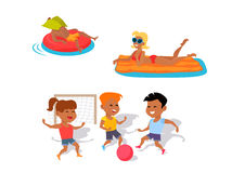 Summer Fun and Entertainments Illustration. Summer fun concept illustration. Beach entertainments and games vector in flat style design. Man and woman swimming Stock Image