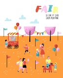 Summer Fun Fair Poster, Banner, Brochure. Amusement Park Characters with Cartoon People. Family Kids Vacation. Vector illustration vector illustration