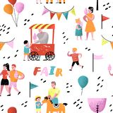 Summer Fun Fair Seamless Pattern. Amusement Park Characters with Cartoon People. Family Kids Vacation Background royalty free illustration